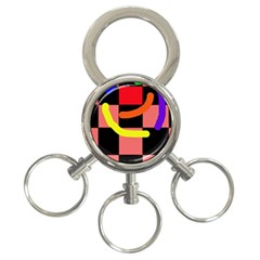 Multicolor abstraction 3-Ring Key Chains