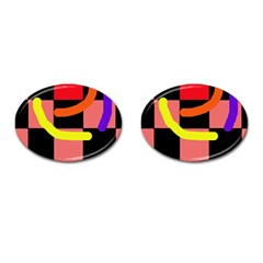 Multicolor abstraction Cufflinks (Oval)