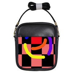 Multicolor abstraction Girls Sling Bags