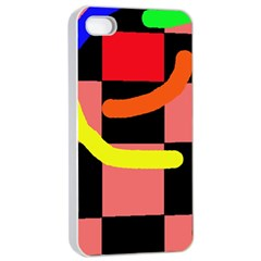 Multicolor abstraction Apple iPhone 4/4s Seamless Case (White)