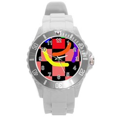 Multicolor abstraction Round Plastic Sport Watch (L)