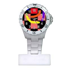 Multicolor abstraction Plastic Nurses Watch