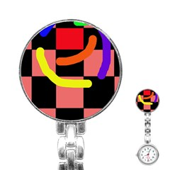 Multicolor abstraction Stainless Steel Nurses Watch