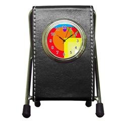 Colorful abstraction Pen Holder Desk Clocks