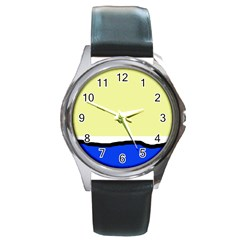Yellow and blue simple design Round Metal Watch