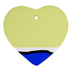 Yellow and blue simple design Ornament (Heart)