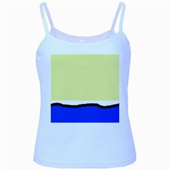 Yellow And Blue Simple Design Baby Blue Spaghetti Tank