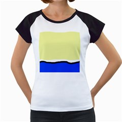 Yellow and blue simple design Women s Cap Sleeve T