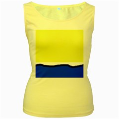 Yellow and blue simple design Women s Yellow Tank Top