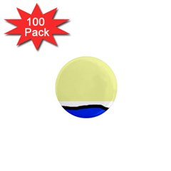 Yellow and blue simple design 1  Mini Magnets (100 pack)