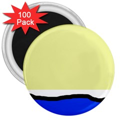 Yellow and blue simple design 3  Magnets (100 pack)