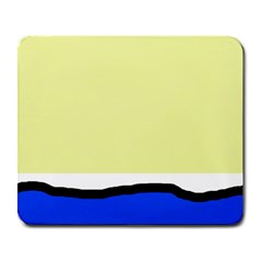Yellow and blue simple design Large Mousepads