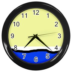 Yellow and blue simple design Wall Clocks (Black)