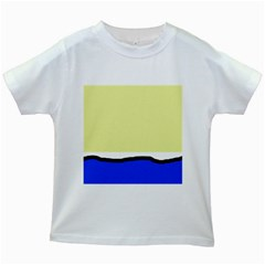 Yellow and blue simple design Kids White T-Shirts