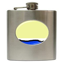 Yellow and blue simple design Hip Flask (6 oz)