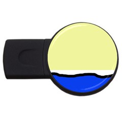 Yellow and blue simple design USB Flash Drive Round (2 GB)