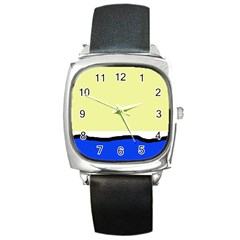 Yellow and blue simple design Square Metal Watch