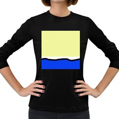 Yellow and blue simple design Women s Long Sleeve Dark T-Shirts