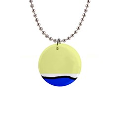 Yellow and blue simple design Button Necklaces