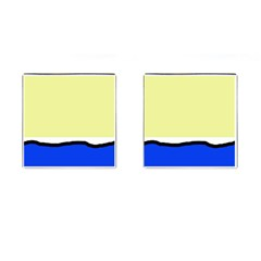 Yellow and blue simple design Cufflinks (Square)