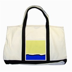 Yellow and blue simple design Two Tone Tote Bag