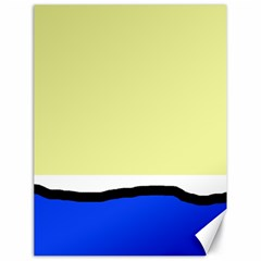 Yellow and blue simple design Canvas 18  x 24