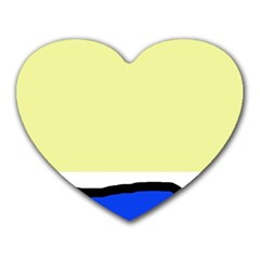 Yellow and blue simple design Heart Mousepads