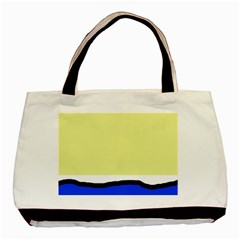 Yellow and blue simple design Basic Tote Bag (Two Sides)