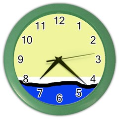 Yellow and blue simple design Color Wall Clocks