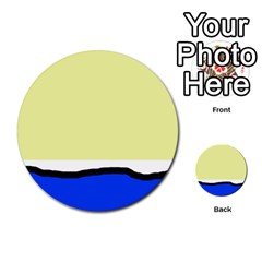 Yellow and blue simple design Multi-purpose Cards (Round)