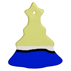 Yellow and blue simple design Christmas Tree Ornament (2 Sides)