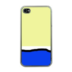 Yellow and blue simple design Apple iPhone 4 Case (Clear)