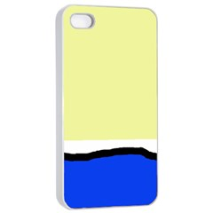 Yellow and blue simple design Apple iPhone 4/4s Seamless Case (White)