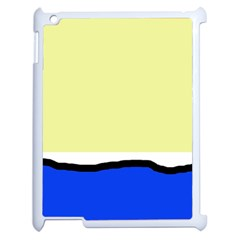 Yellow and blue simple design Apple iPad 2 Case (White)