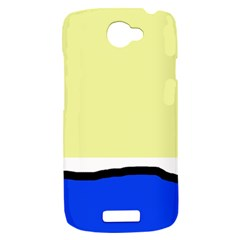 Yellow and blue simple design HTC One S Hardshell Case