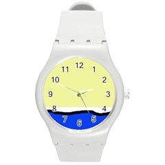 Yellow and blue simple design Round Plastic Sport Watch (M)