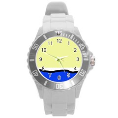 Yellow and blue simple design Round Plastic Sport Watch (L)