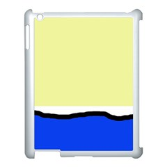 Yellow and blue simple design Apple iPad 3/4 Case (White)