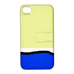 Yellow and blue simple design Apple iPhone 4/4S Hardshell Case with Stand