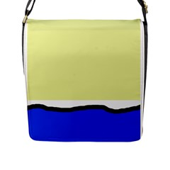 Yellow and blue simple design Flap Messenger Bag (L)