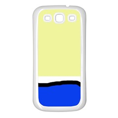 Yellow and blue simple design Samsung Galaxy S3 Back Case (White)