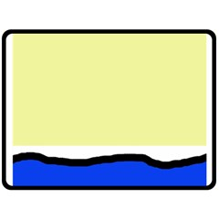 Yellow and blue simple design Double Sided Fleece Blanket (Large)