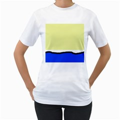 Yellow and blue simple design Women s T-Shirt (White)