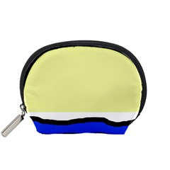 Yellow and blue simple design Accessory Pouches (Small)