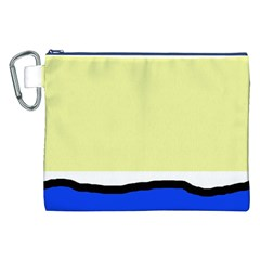 Yellow and blue simple design Canvas Cosmetic Bag (XXL)