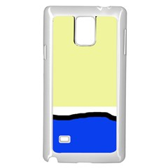 Yellow and blue simple design Samsung Galaxy Note 4 Case (White)