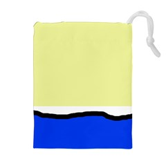 Yellow and blue simple design Drawstring Pouches (Extra Large)