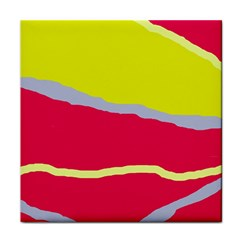 Red and yellow design Tile Coasters