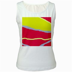Red and yellow design Women s White Tank Top