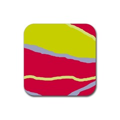 Red and yellow design Rubber Square Coaster (4 pack)